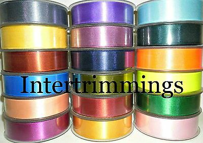Double Sided Satin Ribbon, 25Mm, 5 Metres, Assorted Colours