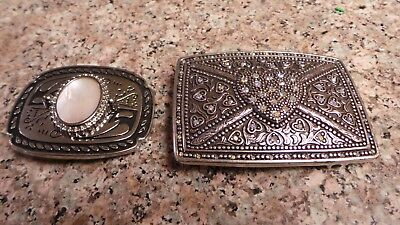 Lot of 2 Women Belt Buckles - Bling Heart & Small Mother of Pearl Stone NICE!