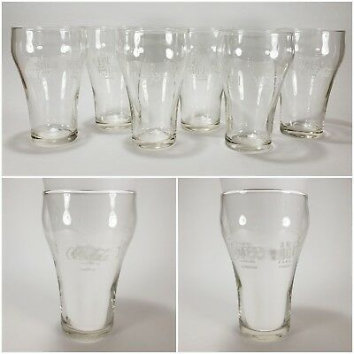 Set of 6 Clear Glass COCA-COLA Different Languages Drinking Glasses Coke