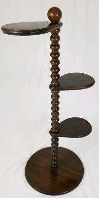 Vintage wooden Barley Twist plant stand display 3 tier paddle English oak