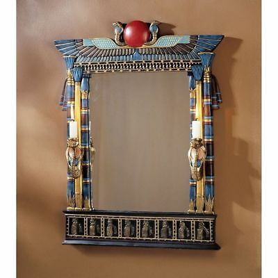 "24.5"" Ancient Egyptian Revival Wadjet Cobra Goddess Wall Mirror with Sconces"