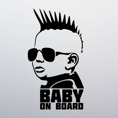 Punk Baby on Board Car Sticker Decal Vinyl Window Funny Safety Sign Child Bumper