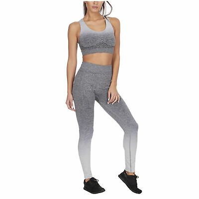 Women's Ombre Sports Gym Set Leggings & Sports Bra Crop Top Racer Back Gradient