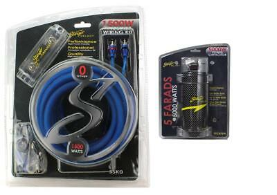 Stinger SSK0 0 Gauge Car Audio Wiring Kit + SSCAP5M 5 Farad Digital Capacitor