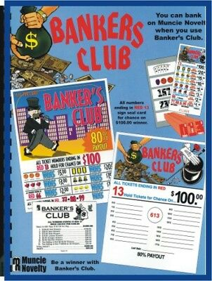""" Bankers Club"" 5W Pull Tab 480 Tkts $100 Prize seal card"