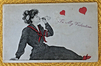 Xavier Sager (?) Unsigned Artist Valentine Woman Blowing Bubbles 1908 Postcard