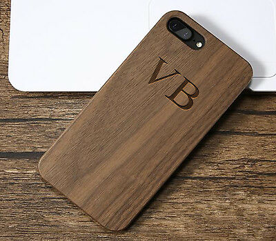 Phone Case Personalised Monogram Initials Wooden Engraved Back Cover For iPhone