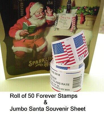 Roll of 50 Forever Flag Stamps & Jumbo Santa Forever Stamp. FAST Shipping. Coil