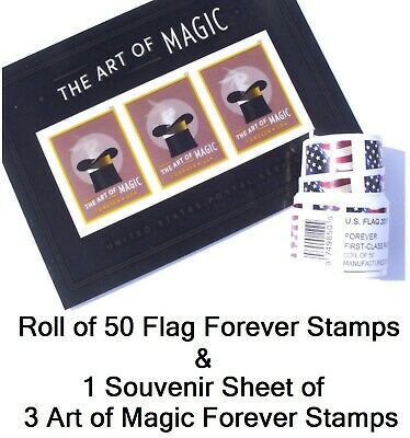 Roll of 50 Forever Stamps & Art of Magic Souvenir Sheet FAST Ship & Track. Coil