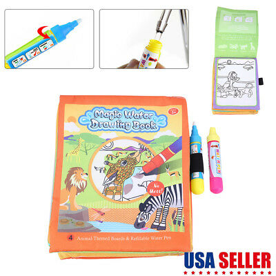 WATER COLORING BOOK Kids Painting Magic Water Drawing Book Doodle with Pen  US