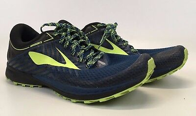 5f2ddfe7978 Brooks Mens Mazama 2 Trail Running Shoes Blue Neon Green US Size 9.5 D