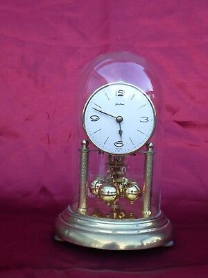Vintage 400 Day Anniversary Pendulum Mantel Clock With Glass Dome And Key