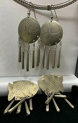 Vintage Boho Ethnic Silver Metal Carved Inscribed Fish Earrings x2 Indian Style