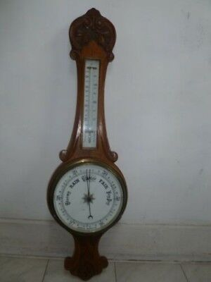 Large vintage wall barometer/thermomenter; wooden