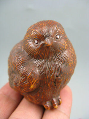 Antique Old Boxwood hand carving Quail Netsuke Statue