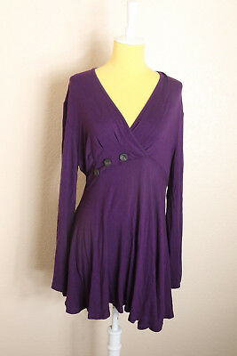 a042fa388f91da Becanbe Women s Top Sz XL Purple Long Sleeve V Neck Front Pleated Flared  Tunic