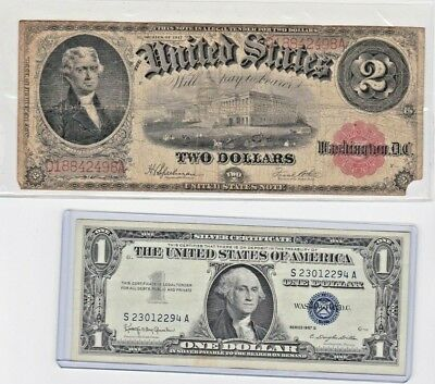 FR. 60 1917 $2 TWO DOLLARS RED SEAL & free silver certificate lot of 1 each