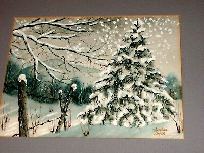 Vintage SUNSHINE TAYLOR Watercolor: Fence and Trees, Heavy Snow Winter Landscape