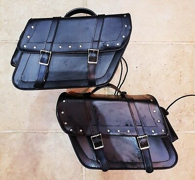 **Excellent Universal Genuine Black Leather Motorcycle Panniers**