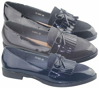 Women Brogue Shoes Ladies Tassel Oxford Slip On Office Patent Loafers Pumps
