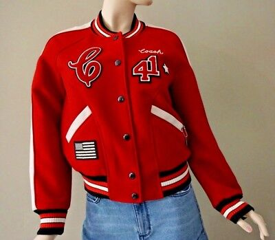 4a069cb8a6 COACH WOMEN S RED Wool Varsity Patches Jacket F34122 Size M ...