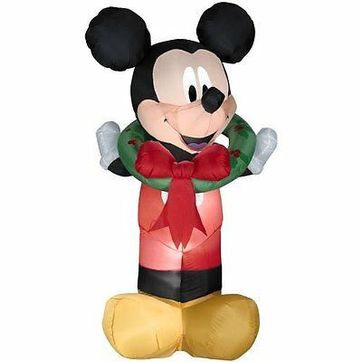 New!  Christmas Disney Mickey Mouse Wreath Airblown Inflatable Gemmy 5.5 Ft Tall