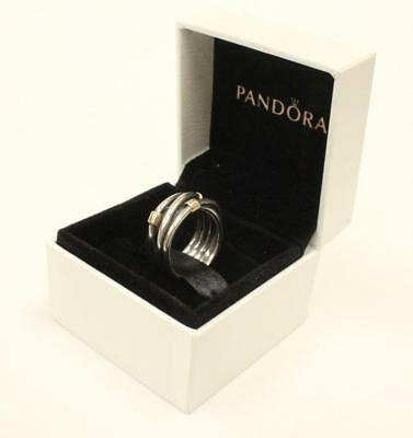 Pandora Woven Rope Ring Sterling Silver 14kt Gold 190383 Hinged Box ALE 925