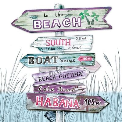 4 Lunch Paper Napkins for Decoupage Party Table Vintage Beach Signpost