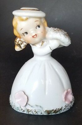 VTG Spaghetti Girl Flowers Lefton? Inardco? Napco? BELL Sugar coated Figurine