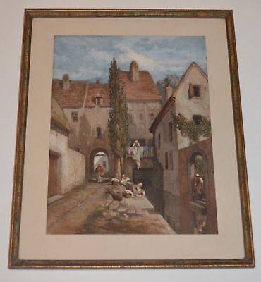 Louis Tesson 1870 Signed Original 19th Century PAINTING French Victorian Art