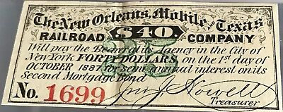 The New Orleans, Mobile & Texas Railroad $40 Bond Coupon October 1887