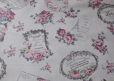 Ivory/Cream Pink French Chic Paris 100% Cotton Floral Fabric  By the Half metre