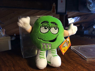 1998 M&M's Swarmees Gordo Green Plush Toy Candy Holder with Candy and Case