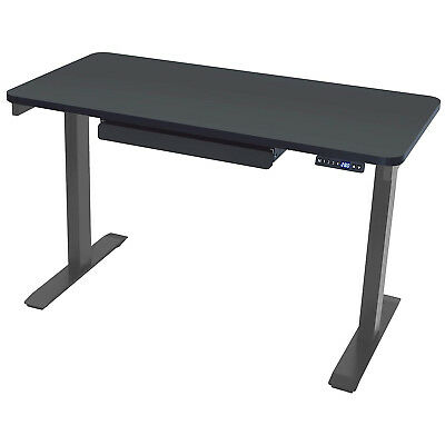 """MotionWise Electric Height Adjustable Standing Desk, 24""""x43""""x28""""-48"""", Black Top"""