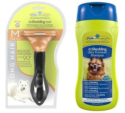 Genuine FURminator De-Shedding Tool: MEDIUM Dog LONG Hair / FURminator Shampoo
