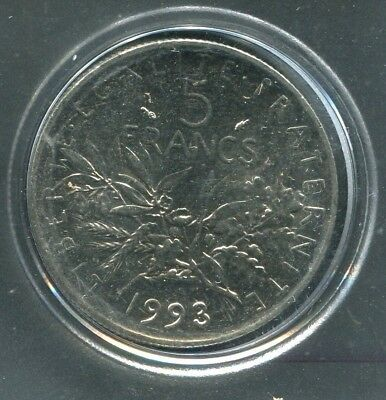 1993 France 5 Francs Coin - KM# 926a.1