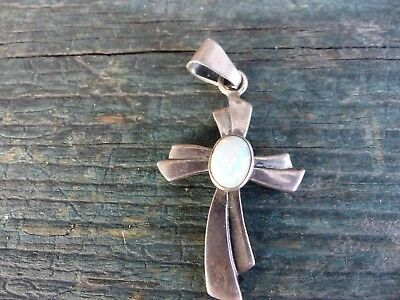 old vintage mexico silver cross moonstone necklace pendant