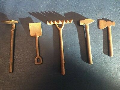 Antique Vintage Style Cast Iron Set of Miniature Garden Tools