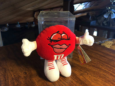 1998 M&M's Swarmees Rikki Red Plush Toy Candy Holder with Candy and Case
