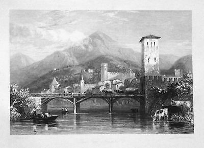 1850 Trient Trento Italien Italia Italy Ansicht view Stahlstich steel engraving