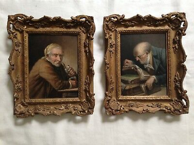 Lot of TWO antique oil paintings on wooden panels signed European scool ca 1900