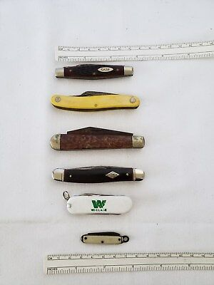 Lot of vintage folding pocket knifes Kabar Diamond edge CASE +