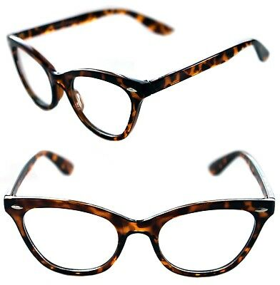 b97dbc38f14 Women s Cat Eye Vintage Clear Lens Eye Glasses small Brown Tortoise Frame  50 s