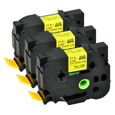 """3PK HSe651 for Brother Black on Yellow Heat Shrink Tubes Tape PT-E300 H300 0.93"""""""