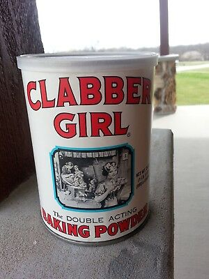 Baking Powder Empty Tin Can 1996 Clabber Girl Double Acting Nice Label 1 lb 8oz.