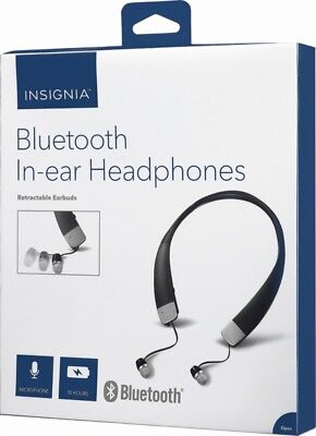 INSIGNIA Bluetooth In-Ear Headphones Wireless Retractable Earbuds BLACK