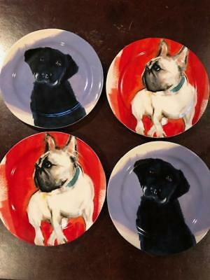 NEW Anthropologie Dog A Day Sally Muir Plate Set Of 4
