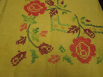 Vintage Embroidered Floral Square Tablecloth Shawl Scarf yellow orange green