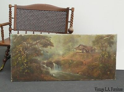 Vintage Asian Oriental Oil on Canvas Painting Picture Signed ~ River Forest