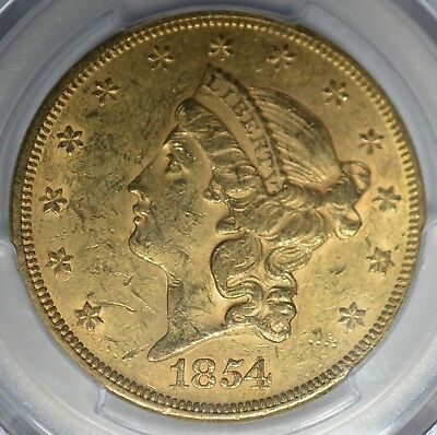 1854 $20 Small Date Pcgs Ms60